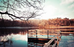 serene lake with pier