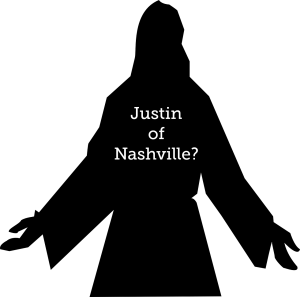 "jesus sihouette with label ""Justin of Nashville"""