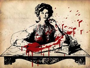 victorian illustration of woman writing, stained with a splatter of blood
