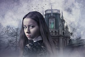dark gothic house and solemn girl