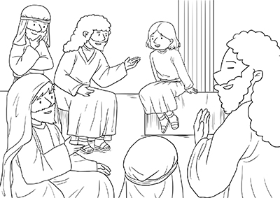 drawing of Bible scene with child