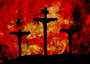 crosses on red background