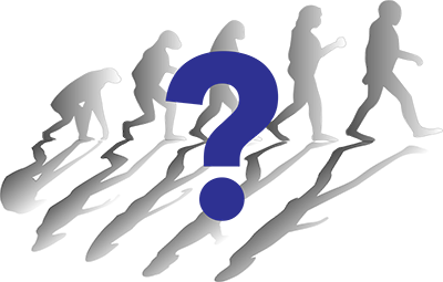 evolving man with question mark