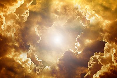 glorious clouds surrounding sun