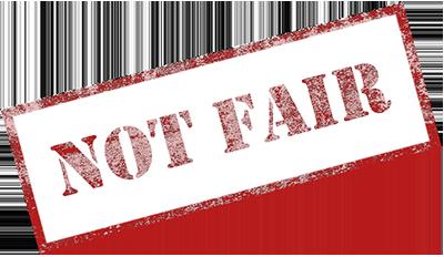 """Not Fair"" stamp"