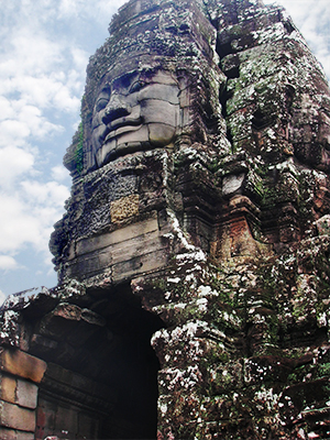 Angkor Wat structure with carved face