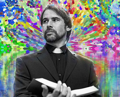 priest with brightly colored bacground