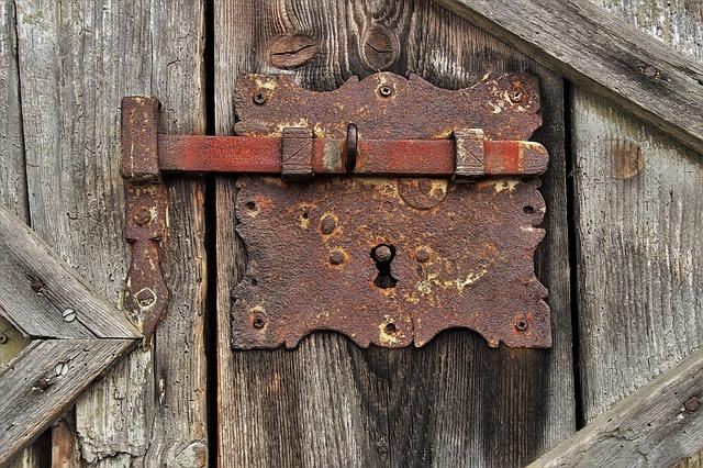 rusty lock on old door