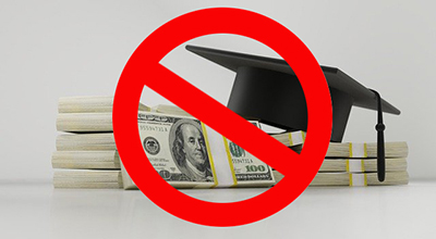 """money and graduation cap with """"NO"""" sign"""