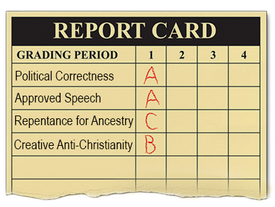 """report card with potically correct """"classes"""""""